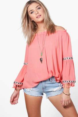boohoo Lexi Tassel Off Shoulder Woven Top