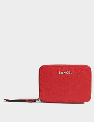 Lancel Lettrines Small Zip Continental Wallet in 1948 Red Grained Leather