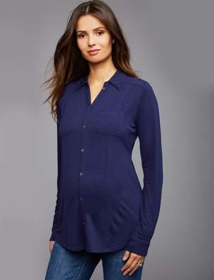 Luxe Essentials Denim Luxe Essentials Slub Maternity Shirt