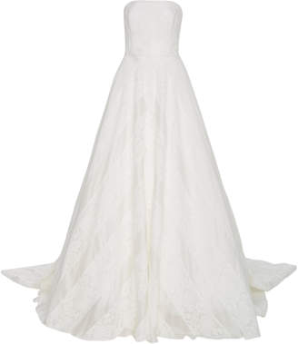 Carolina Herrera Bridal Hudson Lace Overlay Open-Back Silk Ballgown