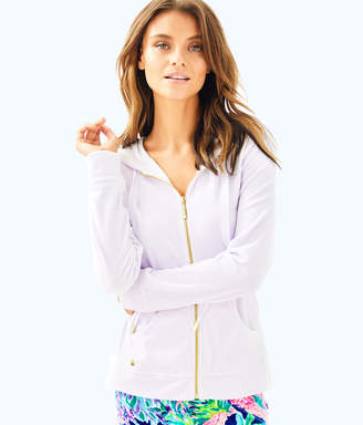 Lilly Pulitzer Womens Larina Solid Velour Zip Up Hoodie