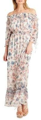 Jessica Simpson Printed Off-the-Shoulder Maxi Dress