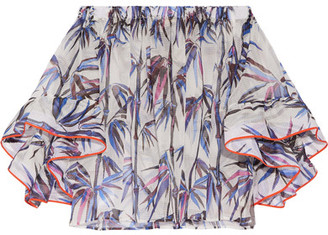 Emilio Pucci - Off-the-shoulder Stretch Silk-trimmed Printed Organza Top - White $1,280 thestylecure.com