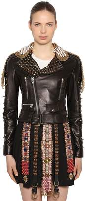 Fausto Puglisi Embellished Leather Biker Jacket