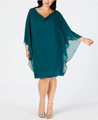 Betsy & Adam Plus Size Embellished Overlay Shift Dress