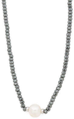 Sterling Silver Pearl And Hematite Necklace
