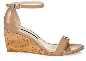 Stuart Weitzman Women's Patent Leather Platform Wedge Sandals