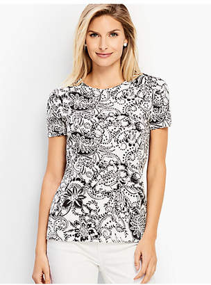 Talbots Dotted Floral Crewneck Tee