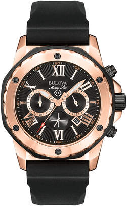 Bulova Men's Chronograph Black Rubber Strap Watch 44mm 98B104