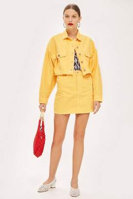 Topshop Petite Yellow Denim Skirt