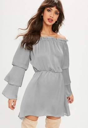 Missguided Gray Satin Bardot Tiered Sleeve Skater Dress