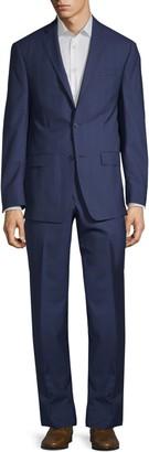 Michael Kors Slim-Fit Windowpane Wool Suit