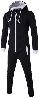 DOKER One Piece Men's Onesie Pajama Non Footed Zip Up Adult With Hoodie Jumpsuit Playsuit XXL
