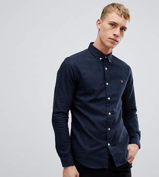 Farah Stretch Skinny Fit Buttondown Oxford Shirt in Navy