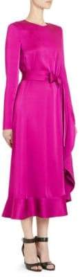 Givenchy Crepe Envers Satin Ruffle Midi Dress