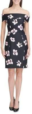 Tommy Hilfiger Off-The-Shoulder Floral Sheath Dress