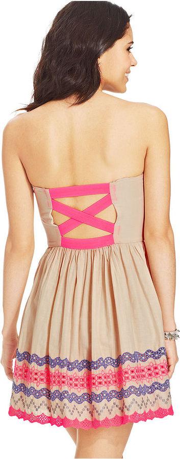 Trixxi Juniors' Strapless Colorblocked Dress