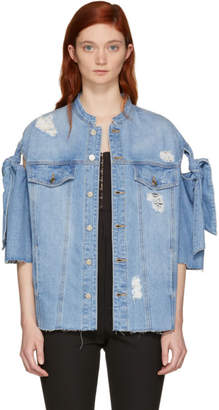 Sjyp Blue Denim Ribbon Tie Jacket