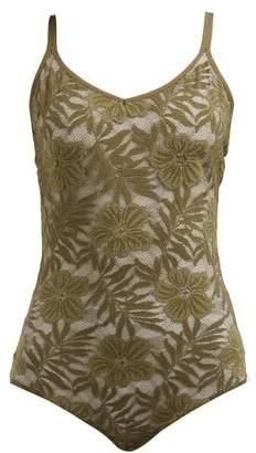 Hanro Illusion Lace Bodysuit - Womens - Dark Green
