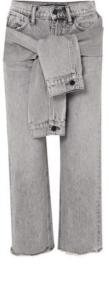 Alexander Wang Cropped Distressed High-rise Straight-leg Jeans - Light gray