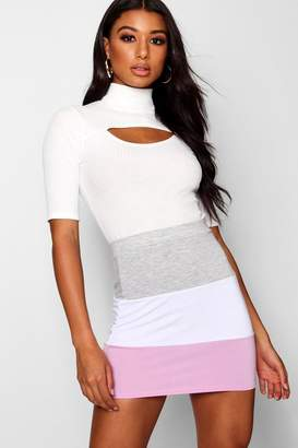 boohoo Colour Block Sweat Mini Skirt