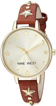 Nine West Women's NW/2126CHBN Star Accented Gold-Tone and Brown Strap Watch