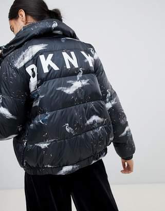 DKNY crane print logo padded jacket