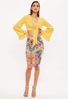 Missguided Purple Scarf Print Midi Skirt