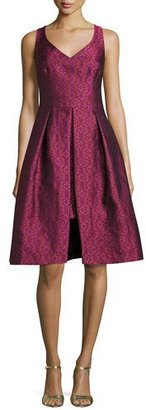 Trina Turk Sleeveless Pleated Floral Jacquard Dress, Pink $238 thestylecure.com