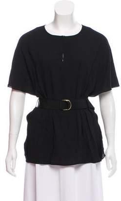 Paule Ka Belted Short Sleeve Blouse