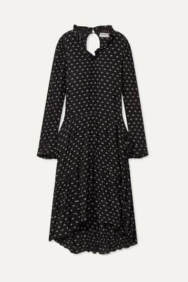 Balenciaga Printed Crinkled-silk Midi Dress - Black