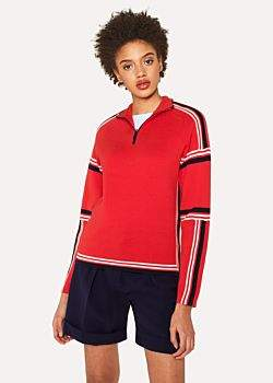 Paul Smith Women's Red Knitted Cotton Half-Zip Sweater With Contrasting Stripes