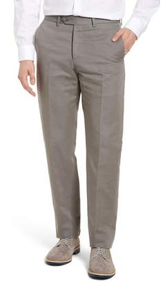 Monte Rosso Flat Front Solid Cotton & Linen Trousers