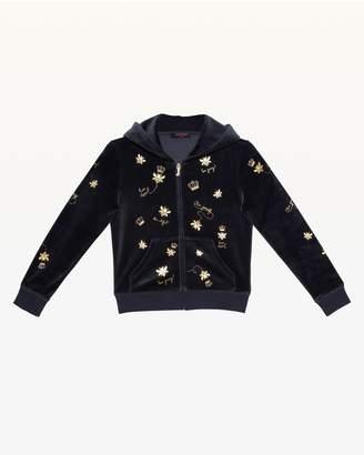 Juicy Couture Foil Bee & Juicy Print Velour Hoodie for Girls