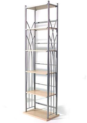 6 Shelf Media Storage Tower - Light Oak Effect / Silver