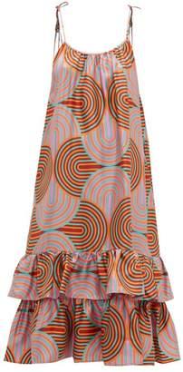 La DoubleJ Simps Ruffle Hem Silk Midi Dress - Womens - Pink Multi