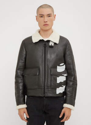 Off-White Shearling Lined Leather Jacket in Black