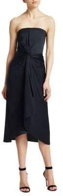 A.L.C. Roya Twist Front Strapless Midi Dress