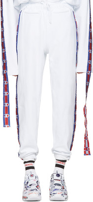 Vetements White Champion Edition Tape Track Pants $760 thestylecure.com