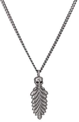Emanuele Bicocchi Men's Skull & Feather Pendant Necklace