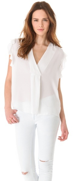 L'Agence La't by Sleeveless Top with Ruffles