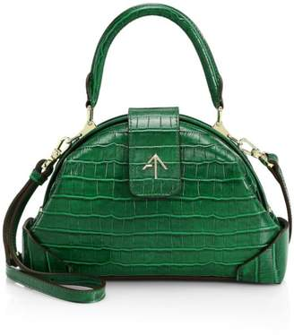 Atelier Manu Demi Croco-Embossed Leather Bag