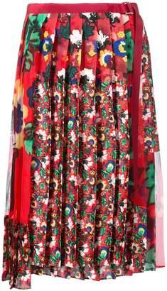 Sacai asymmetric floral pleated skirt