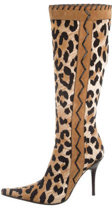 Casadei Printed Knee-High Boots $125 thestylecure.com