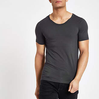 River Island Grey muscle fit scoop neck T-shirt