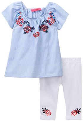 Betsey Johnson Embroidered Ticking Stripe Top & Knit Denim Capri Set (Little Girls)