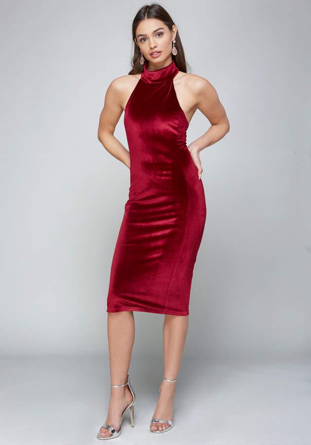 Velvet Mock Neck Midi Dress