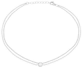 Lord & Taylor Cubic Zirconia, 18K White Gold and Sterling Silver Circle Bezel Charm Anklet $45 thestylecure.com