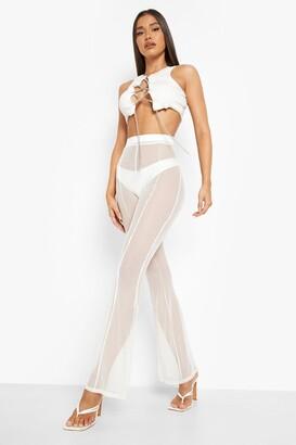 boohoo Halloween Mesh Panelled Flare Trouser