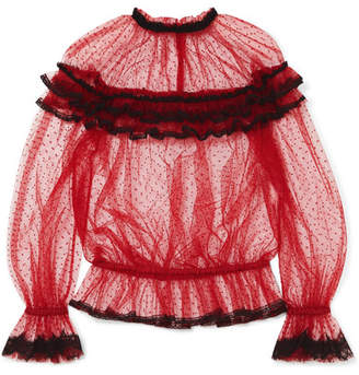 Dolce & Gabbana Ruffled Lace-trimmed Point D'esprit Tulle Blouse - Red